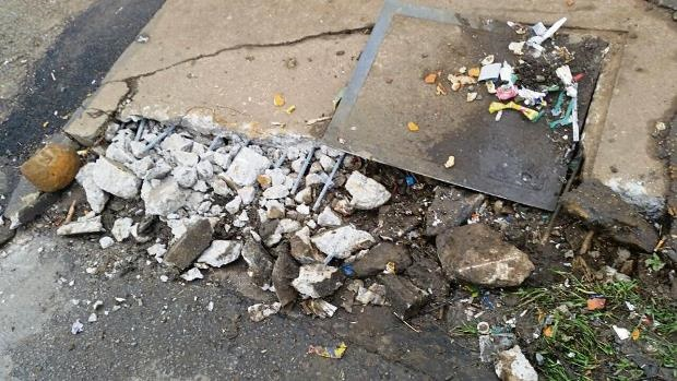 Exposed steel reinforcing rods on a roadside pavement which was targeted by an alleged thief who was arrested on Saturday.