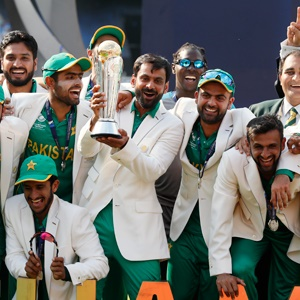 Pakistan lifting up the ICC Champions Trophy (AP)