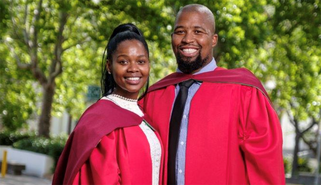 Dr Nompumelelo Shange and Dr Roderick Juba on their graduation day at Stellenbosch University.