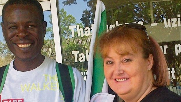 Jan Mabuyakhulu and Mariza Oosthuizen outside the high court in Pietermaritzburg.