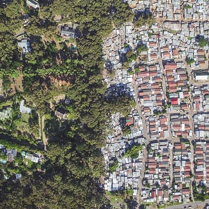 An aerial view of Hout Bay and Imizamo Yethu. (Supplied, OurFriends.co)