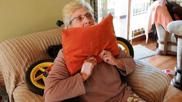 Irene van Tonder describes how she was pushed down onto the chair, her back pressed up hard against a bicycle which had been placed on the chair, and smothered with a cushion during a robbery in Ashburton.