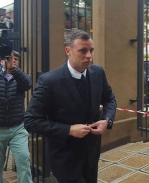 Oscar Pistorius arrives at the High Court in Pretoria for day two of his murder sentencing. (Karabo Ngoepe, News24)