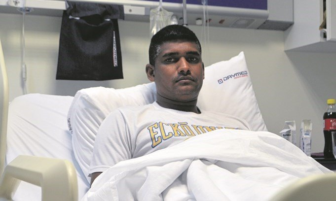 Nivess Devnarrian (36) in Daymed hospital on Tuesday. He suffered smoke inhalation when he pulled his neighbour out of a burning house.