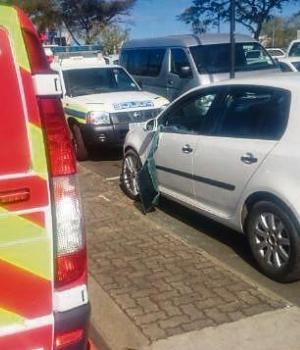 The car the two toddlers were locked in while their parents went shopping at Liberty Midlands Mall, after its window was broken into by paramedics with a crowbar.