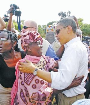 Barack Obama with step-grandmother, Sarah Obama