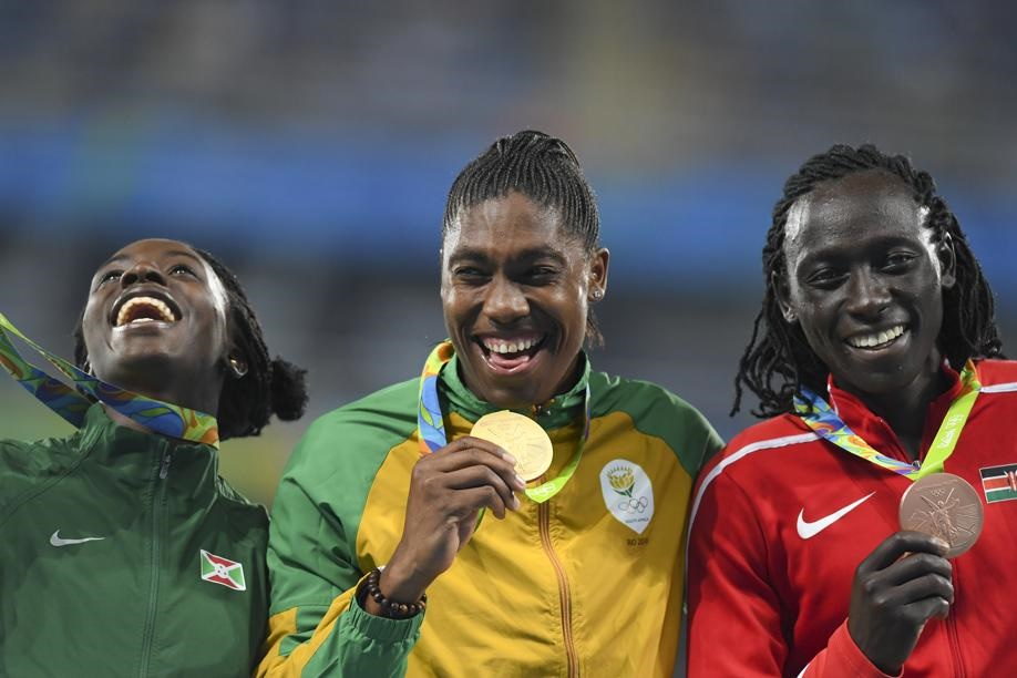 Caster Semenya (gold), Francine Niyonsaba of Burundi (silver), and Margaret Woambui of Kenya (bronze) with their respective medals after the victory ceremony. Picture: Roger Sedres/Gallo Images