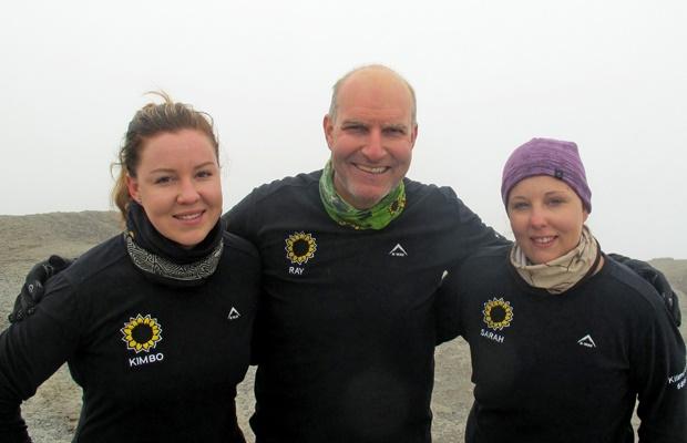 Ray and his daughters climbing Kilimanjaro