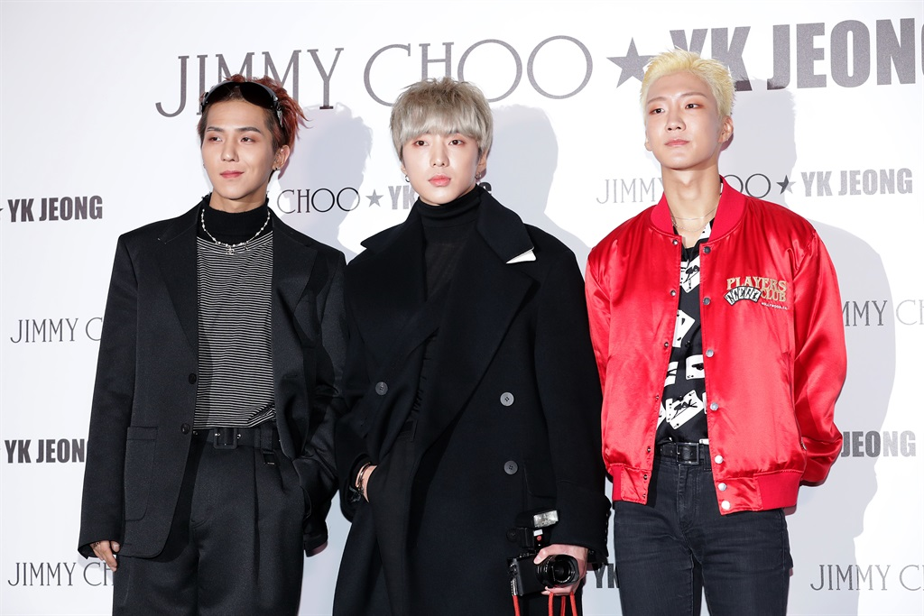 Song Min-Ho, Kang Seung-Yoon and Lee Seung-Hoon of South Korean boy band WINNER attend the photocall for Jimmy Choo X YK Jeong collaboration the highlighted capsule product launch event on January 09, 2020 in Seoul, South Korea. (Photo by Han Myung-Gu/WireImage)