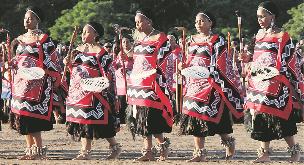 JET SET Five of King Mswati III's wives dance during the First Fruit ceremony at Ludzidzini, Swaziland. Picture: Gallo Images / Bonile Bam