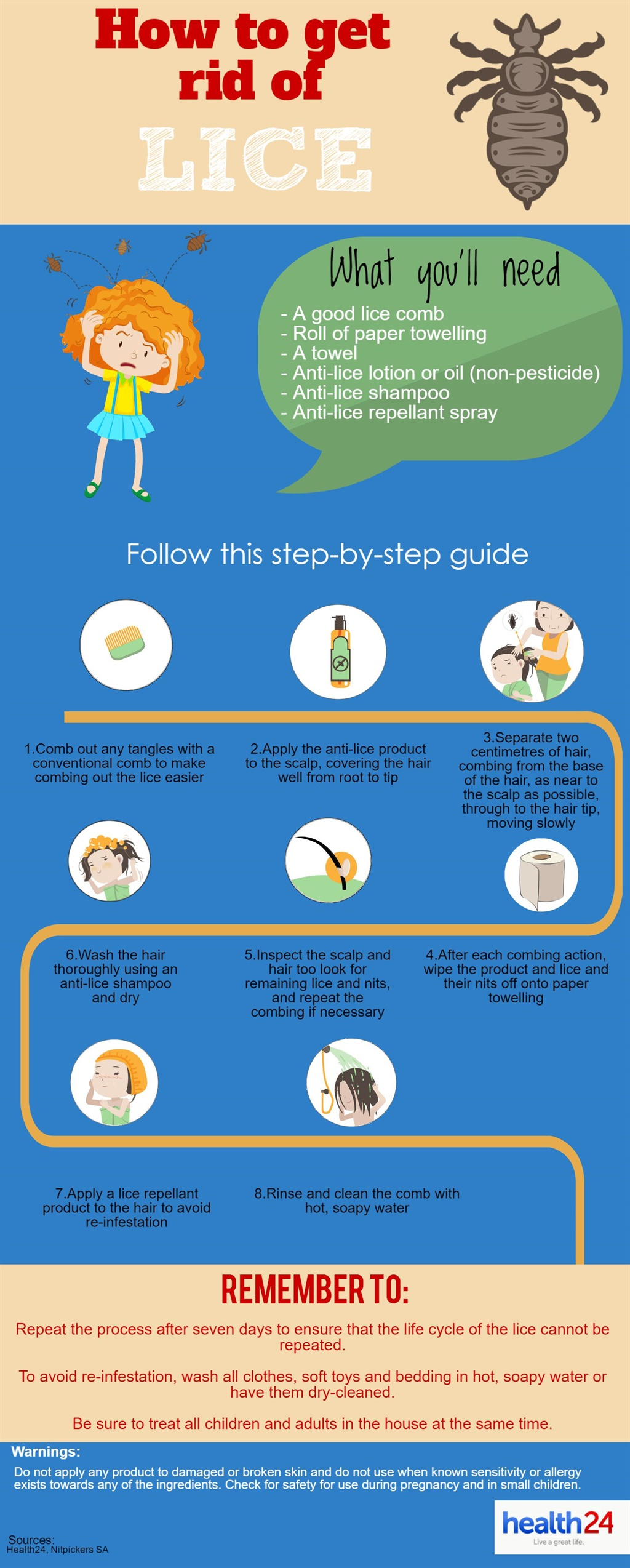 Step-by-step guide to remove head lice