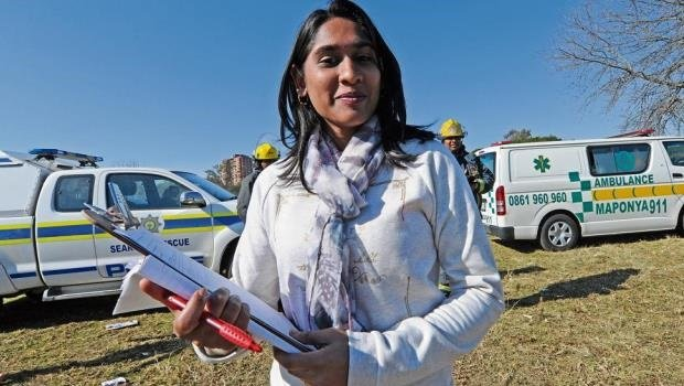Andrea Pillay from Nathoo Mbenyane Engineers oversees the surprise accident simulation exercise.