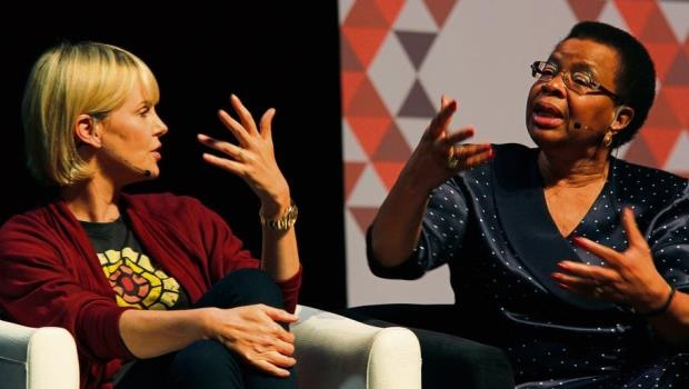 Graça Machel (right), wife of former president Nelson Mandela makes a point about the rights of young adolescent women along with actress Charlize Theron at the 2016 Aids Conference in Durban. The two were part of a panel that discussed the rights and difficulties faced by adolescents in the HIV/Aids epidemic.