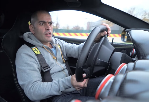 <b> 'THIS IS AN ANGRY CAR': </b> Top Gear host Chris Harris drives a Ferrari F12 TDF and discovers the depths of his presenting talent. <i> Image: YouTube </i>