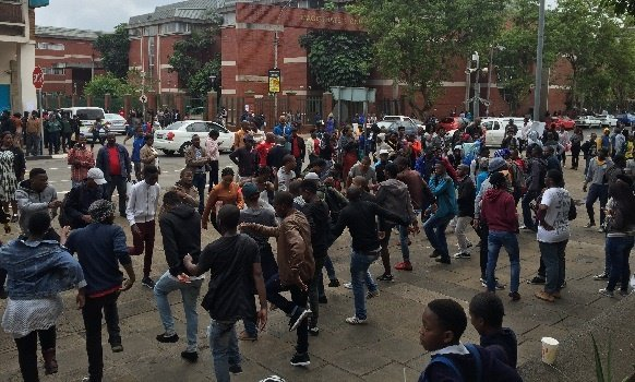 UKZN students protesting outside the Pietermaritzburg Magistrate Court in support of arrested UKZN students.