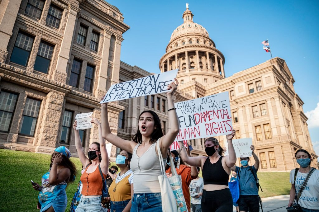 AUSTIN, TX - SEPT 1: Pro-choice protesters march o