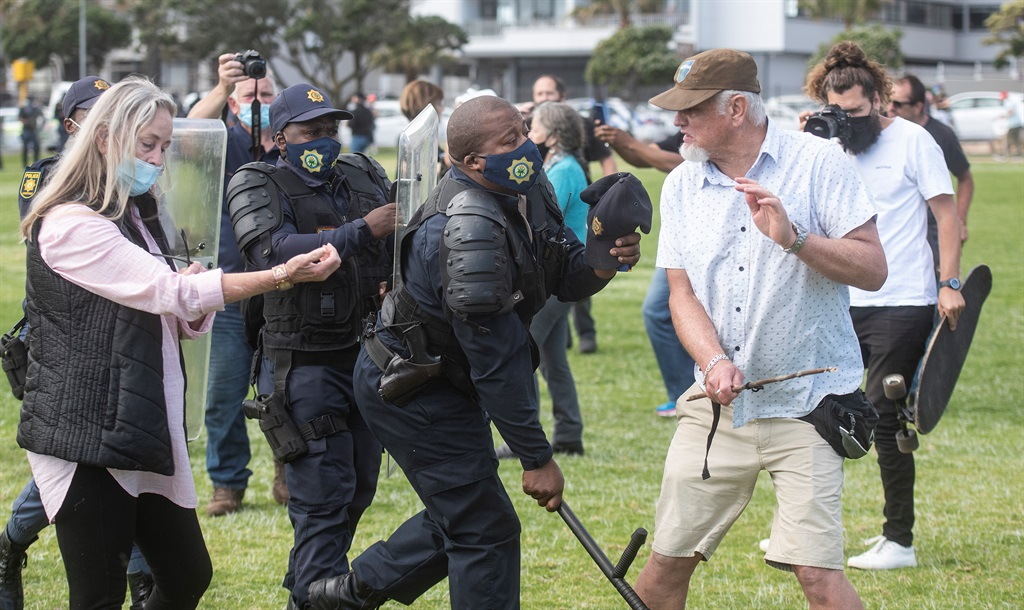 CAPE TOWN, SOUTH AFRICA - OCTOBER 09: Two proteste