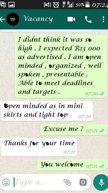 A screenshot of the messages between a local woman who applied for a job and the employer asking her to wear mini skirts and tight tops.