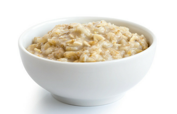 bowl of oatmeal on white background