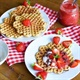 Low carb waffles with caramelized banana and strawberries