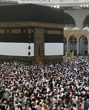 Muslim pilgrims from all around the world circling around the Kaaba at the Grand Mosque, in the Saudi city of Mecca. (Ahmad Gharabli, AFP)