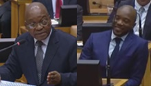 Maimane smirks as Zuma defends SAA's Myeni