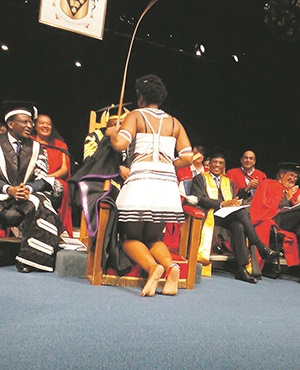 CULTURED Rhodes University student Tolakele Silo (22) being conferred a BA degree in journalism and media studies