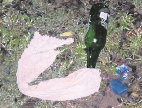 One of the many petrol bombs that were extinguished before they could explode at UKZN Pietermaritzburg on Thursday.