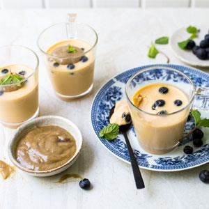 ... tea and blueberry panna cotta with nut butter caramel sauce | Food24