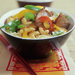 Pork stir-fry with ginger and Cashew nuts