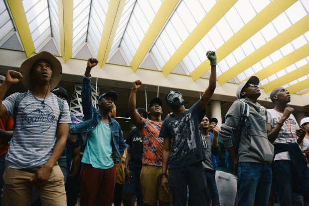 A group of protesting UCT students