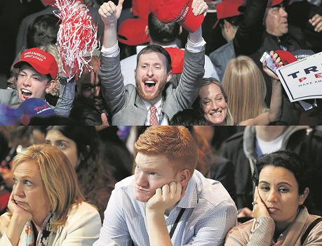 Donald Trump supporters (top) celebrate his U.S. presidential election victory on Wednesday, while supporters of his rival Hillary Clinton (above) are glum after her defeat.