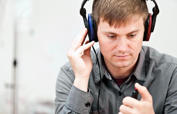 Man having a hearing test
