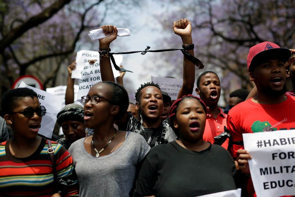 Students demonstrate in downtown Pretoria on Thursday, en route to the Union Buildings.  Picture: Jerome Delay/AP