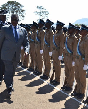 File: Malawi President Peter Mutharika inspects a police parade (Supplied)
