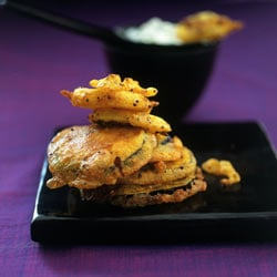golden pakoras with cumin yoghurt.