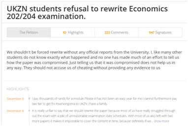 Over 900 UKZN students and parents have signed a petition against rewriting an exam.