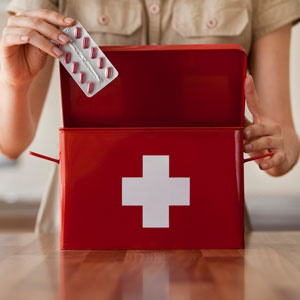 First aid kit with allergy medication