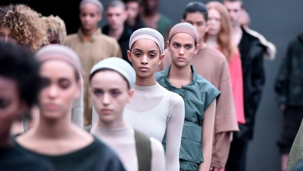 Models on runway at the adidas Originals x Kanye West YEEZY show