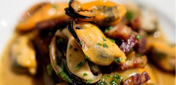 starter, recipe,mussels, leeks, bacon, La Tete, fo