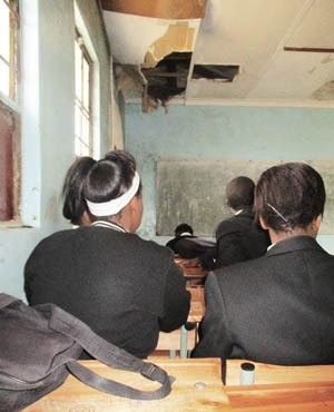 A collapsing ceiling in one of the classrooms (Equal Education)