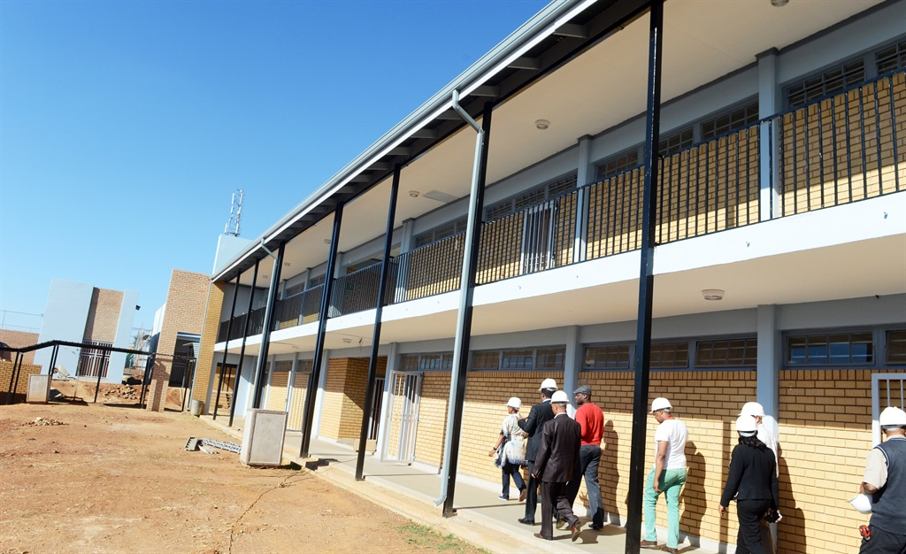 Gauteng Education MEC Panyaza Lesufi inspects a new school in Mndeni, Soweto. Picture: Leon Sadiki