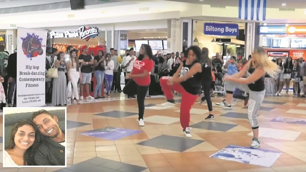 A screenshot of the video, which went viral on social media, of the flashmob which led to Chrissun Phillips and Candice Pillay's proposal at the Liberty Midlands Mall on Wednesday. INSET: Candice Pillay and Chrissun Phillips.
