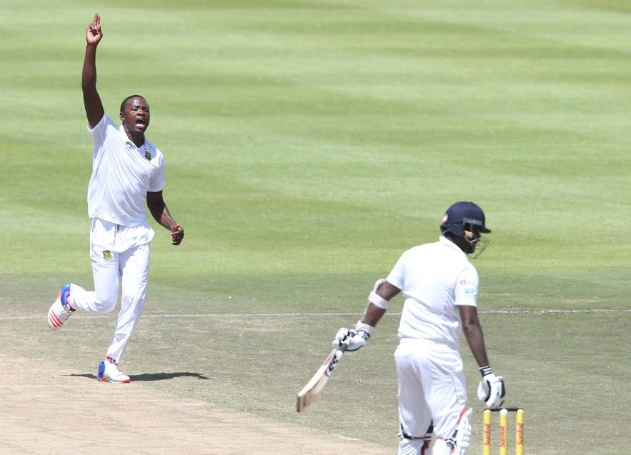CAPE TOWN, SOUTH AFRICA - JANUARY 05: Kagiso Rabada of South Africa celebrates during day 4 of the 2nd test between South Africa and Sri Lanka at PPC Newlands on January 05, 2107 in Cape Town, South Africa. (Photo by Luke Walker/Gallo Images)