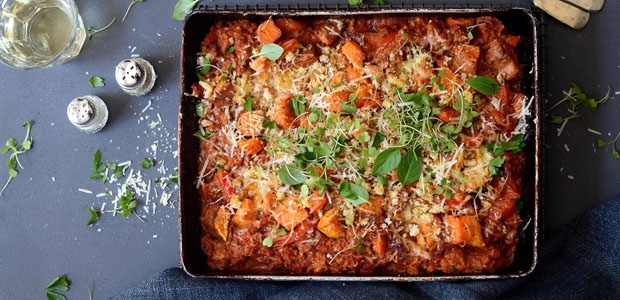 Cheesy Sweet Potato And Tuna Bake