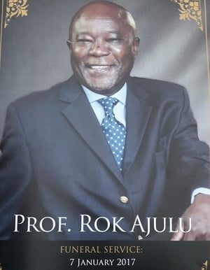 The funeral leaflet for Professor Rok Ajulu (Mpho Raborife, News24)