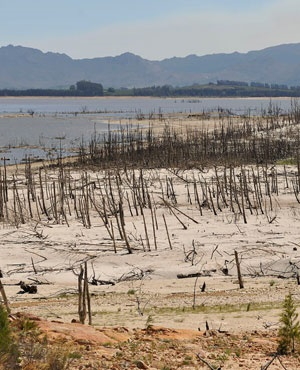 Theewaterskloof dam is shown in January. It is one of the mayor dams supplying water to Cape Town. (Supplied)