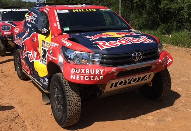 <b> PROUDLY SA: </b> The South African-built Toyota Gazoo Racing Hilux of driver Giniel de Villiers at the start of Dakar 2017 in Asuncion, Paraguay. <i> Image: Sean Parker </i>