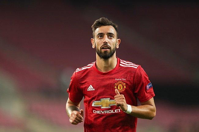 Bruno Fernandes of Manchester United during the Europa League quarter-final against Copenhagen in Cologne on 10 August 2020.