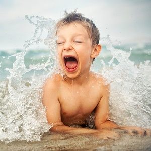 boy with seawater allergy